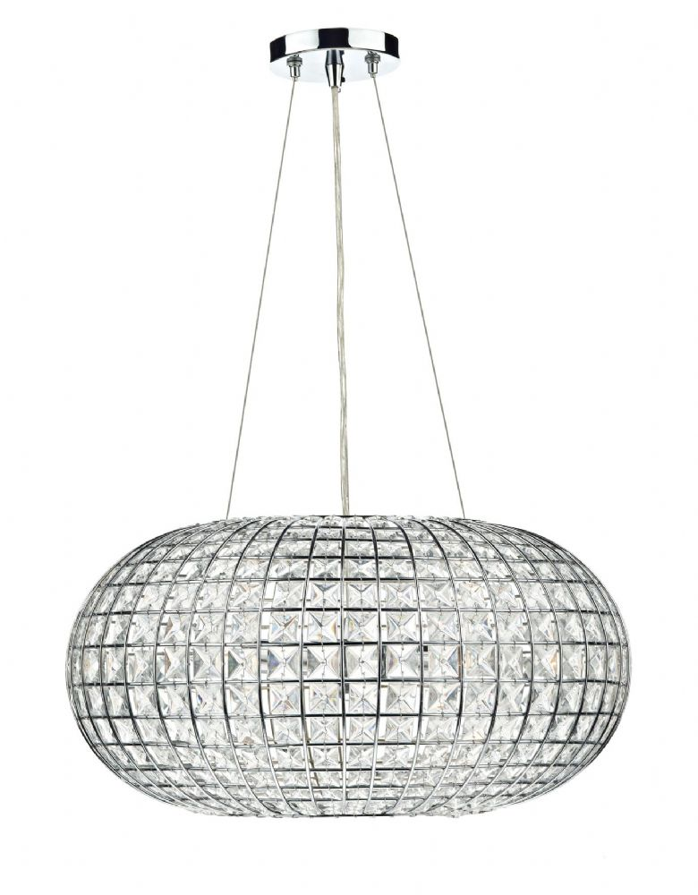 Plaza 3-light Polished Chrome Crystal Pendant Ceiling Light (Double Insulated) BXPLA0350-17
